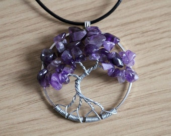"""Amethyst Tree of Life pendant / necklace - 45mm / 1.75"""" - with leather necklace"""