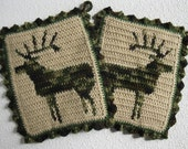 Elk Pot Holder Set. Crochet potholders with camouflage bull elk silhouettes. Hunters gift