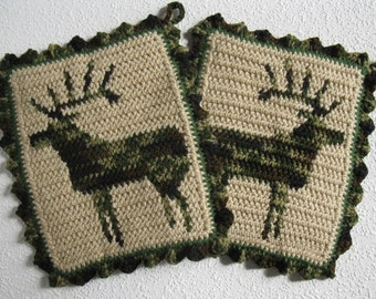 Elk Pot Holder Set. Crochet potholders with camouflage bull elk silhouettes. Hunters gift