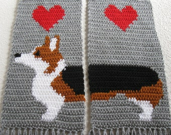 Corgi Dog Scarf.  Gray crochet and knitted scarf with tricolor Welsh corgi dogs.  Scarves with Pembroke welsh corgis and red hearts.