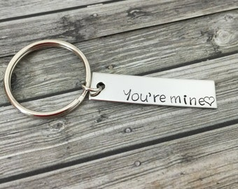 You're Mine Keychain, Single keychain, Anniversary gift, Girlfriend Gift, BoyFriend Gift, Personalized Keychain, Boyfriend Gift for him