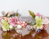 Spring Flower Crown - Flower Halo - Flowergirl hairpiece - Summer Wedding - Newborn Photo Prop - Wedding Crown - Floral Hairpiece