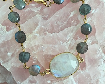 Rainbow Moonstone Labradorite Bracelet // Beaded, Wire Wrapped Rosary Chain, Gold, Crystal Stone, Gray, Iridescent Shimmer, Delicate Layer