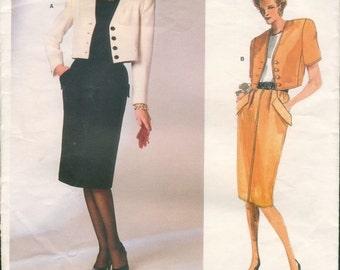 Sharp Vintage 1980s Vogue American Designer 1751 Oscar de La Renta Short Jacket and Straight Skirt Sewing Pattern B32.5