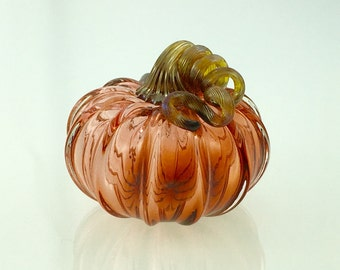 Glass Pumpkin by Jonathan Winfisky - Transparent Aurora - Hand Blown Glass