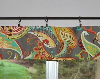 "Kitchen Valance . Mini Valance  8""x 52"" . Covington Paisley Whimsy . Mardi Gras . Use Ring Clips or Slide on Curtain Rod"