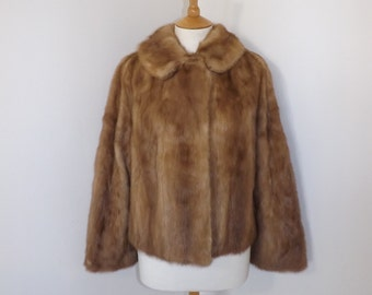 Vintage real mink fur honey light brown dark blonde short coat bolero jacket Large 14 16