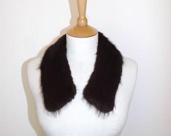 Vintage real dark brown mink fur collar scarf tippet