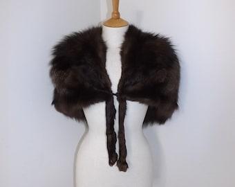 Vintage 1950s real silver fox fur fluffy cape stole shrug