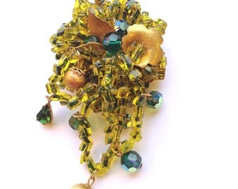 Signed Eugene Green Brooch Hand Wired Beaded & Rhinestone Brooch Green Dangling Designer Collectible Fashion Jewelry