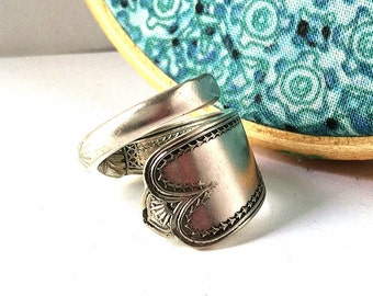 Antique Spoon Wrap Ring, size 7, Floral