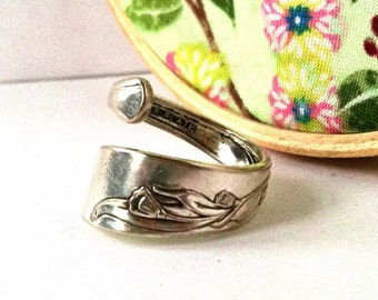 Wrapped Spoon Ring, Size 7, Floral, Eco Friendly Upcycled Ring