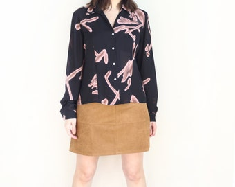 black abstract 80s button up secretary blouse