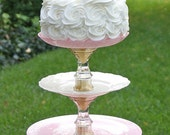 Cupcake Cake Stand  Pink Gold & Cream Three Tier Shabby Chic Vintage Reclaimed Serving Platter Made to order