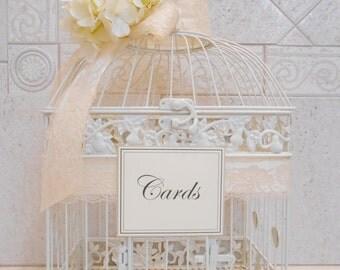 Large Ivory Wedding Birdcage Card Holder / Wedding Card Box / Wedding Card Holder / Wedding Birdcage