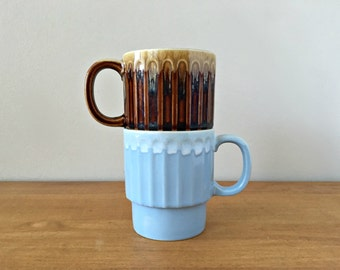 Vintage Stacking Mugs Blue and Brown Drip Made in Japan Mugs