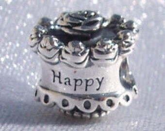 Authentic Pandora, Happy Birthday, Bracelet Charm, Sterling Silver, Cake, 925 ALE, Gift Ideas, FREE SHIPPING
