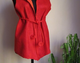 "Ladybug"" red scarlet woolen warm and cozy vest"