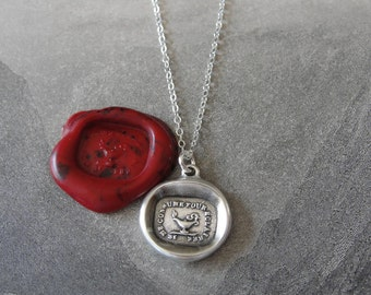 Wax Seal Necklace Oil Lamp - antique wax seal charm jewelry French motto - I Burn To Enlighten - by RQP Studio