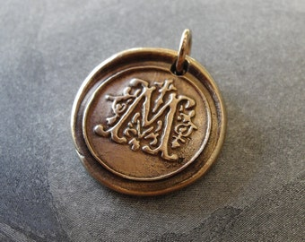 Wax Seal Charm initial M - wax seal jewelry pendant letter M in bronze