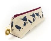 Bird Print Linen Pencil Case Zipper Pouch Small Makeup Bag Brush Case Back to School Gift