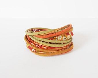 orange bohemian wrap bracelet, Liberty ribbon wrap, autumn floral wrap bracelet, double wrap, leather suede wrap bracelet, gift for her