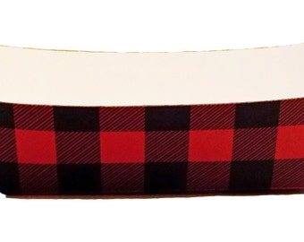 Red and Black Buffalo Plaid Paper Food Tray - Set of 12