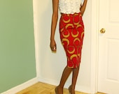 Fully lined African print midi pencil skirt