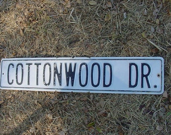 """Vintage White Washed TIN Road Sign Chippy Shabby Black Paint Letters 30"""" x 6"""" COTTONWOOD DR  Street Sign"""
