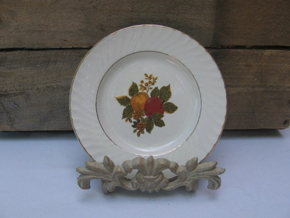 "Wedgwood English Harvest Desert Plate, Fall Fruit and Leaf Pattern Dessert Plate, 5 7/8"" Plate, Small Dessert Plate MyVintageTable"