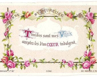Pink Roses on Twig Frame Antique French New Year Greeting Card, Chromolithograph, Chromo, Leaves, Vines, Ribbon