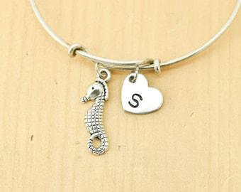 Seahorse Bangle, Sterling Silver Bangle, Seahorse Bracelet, Expandable Bangle, Personalized Bracelet, Charm Bangle, Initial Bracelet