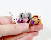 Animal Love Necklace, Pick Your Favorite, Mini Ornament, Valentine Charm, Mouse, Bunny, Elephant, CHOOSE ONE