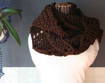 Crochet Ripple Infinity Scarf,Knit Infinity Scarf,Cowl Scarf,Chunky Knit,Neck Wrap,Oversized Scarf,Loop Scarf,Mens Scarf,Womens Scarf,Brown