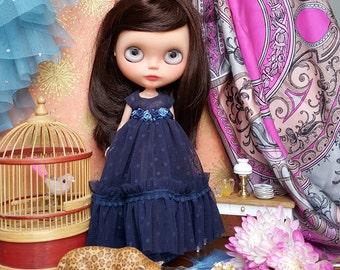 Navy Polka Dot Tulle Blythe Dress and Petticoat Set | Pullip Dress