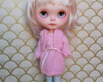 SALE % Adorable Pink Wool Blythe Cardigan and Dress Set