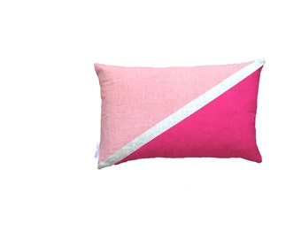 Flag cushion in Blush & Magenta linen cushion cover