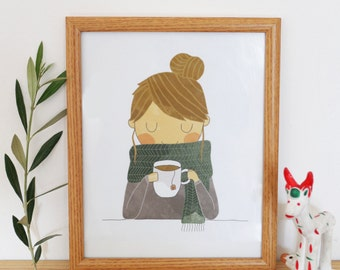 A cup of tea print / Cute illustration / Art Print / Wall decor / Nursery decor