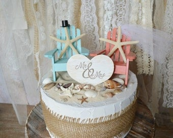 beach wedding cake topper starfish themed blue coral bride groom starfish Mr and Mrs wedding sign destination wedding topper decorations