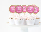 30th Birthday Cupcake Toppers Gold Glitter Cupcake Toppers Pink Ombre Party Supplies Thirty Flirty and Thriving Dirty Thirty Cake Topper