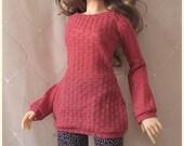 SDGr Delf Feeple60 Moe - Coral Long Sleeve Sweater Dress - for abjd, bjd, Super Dollfie SD13 Luts Girl Doll