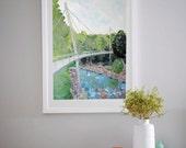 Falls Park | Liberty Bridge | Downtown Greenville, South Carolina Painting | Art Print
