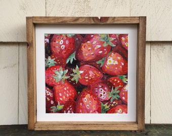 Strawberries Acrylic Painting | Giclee Art Print