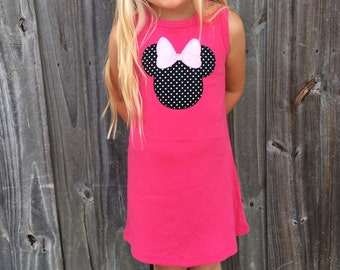 Minnie Mouse inspired dress, infant and toddler sizes, disney outfit, personalize with your child's name