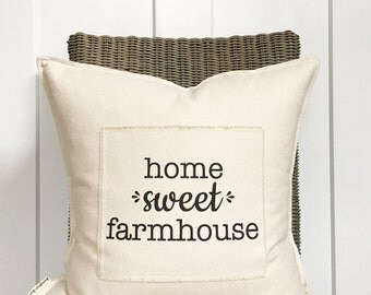 """18"""" Home Sweet Farmhouse Pillow - Home Sweet Home - Cozy Home Decor - Scrappy Frayed Pillow Cover - Cotton Canvas - Loop and Toggle Closure"""