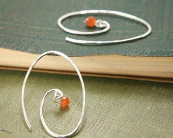 Carnelian Spiral Earrings - Sterling Silver Hammered Oval Circle Orange Genuine Gemstone - Peaceful Warrior, Grounding, Passion, Healing