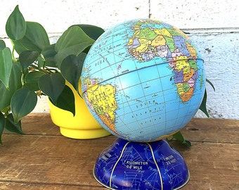 World GLOBE BANK | Vintage Ohio Art Small Metal Globe | Litho Painted Tin Desk Globe | c. 1967-1972 Cold War Globe | Metric System Base