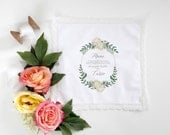 Peonies and Greens Mother of the Bride Handkerchief.  Lace edge Handkerchief. Mother of the Bride Handkerchief. Wedding Handkerchief