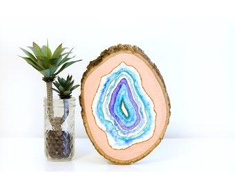 Agate slice art, geode art, wood wall art, agate painting, bohemian decor, watercolor agate art, watercolor geode, wood slice painting