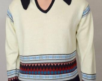 Vintage 1970's Men's COLLAGEMAN NaTiVe AzTeC Retro HiPPiE HiPsTeR Pullover Sweater S M